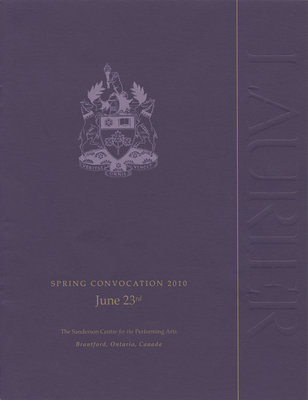 Laurier Brantford spring convocation program, 2010