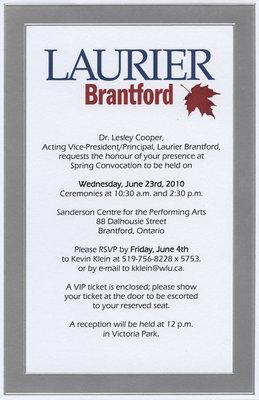 Laurier Brantford convocation invitation, 2010