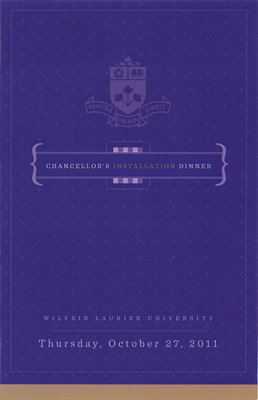 Wilfrid Laurier University Chancellor's Installation Dinner program, 2011
