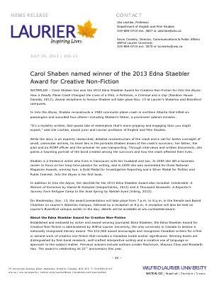 102-2013 : Carol Shaben named winner of the 2013 Edna Staebler Award for Creative Non-Fiction