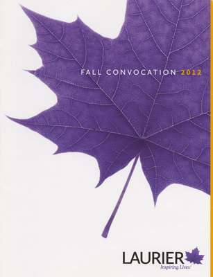 Wilfrid Laurier University fall convocation program, 2012