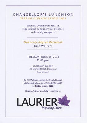 Laurier Brantford Chancellor's Luncheon invitation, June 18, 2013