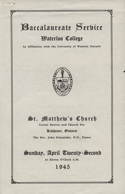 Waterloo College baccalaureate service program, 1945