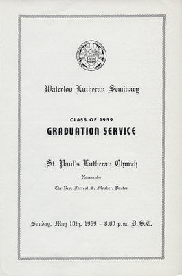 Waterloo Lutheran Seminary Class of 1959 Graduation Service program