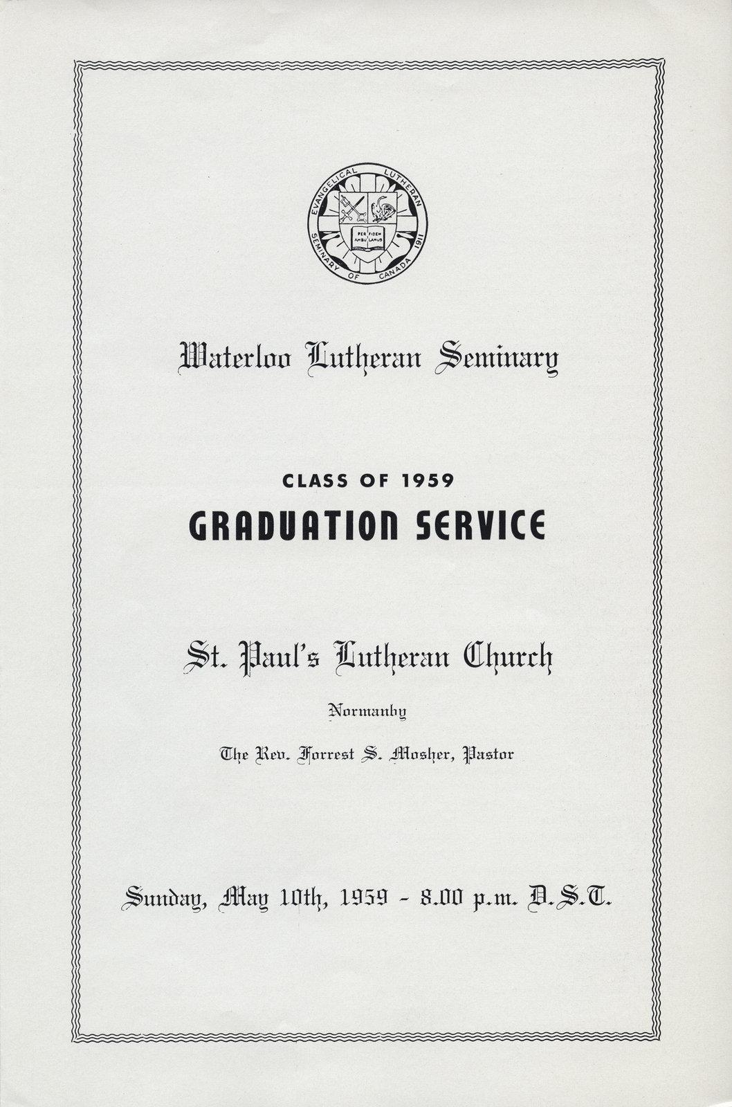Waterloo Lutheran Seminary Class of 1959 Graduation Service program