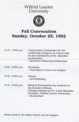 Wilfrid Laurier University fall convocation schedule, 1992