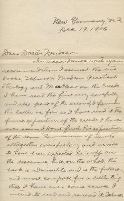 C. H. Little to R. F. Weidner, December 19, 1906
