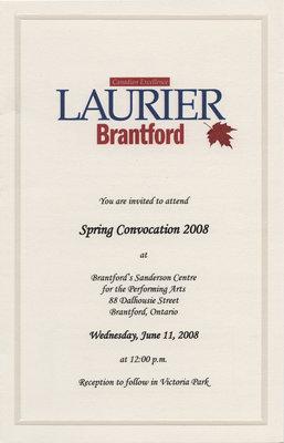 Laurier Brantford spring convocation invitation, 2008