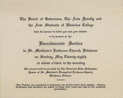 Waterloo College baccalaureate service invitation, 1933