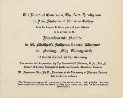 Waterloo College baccalaureate service invitation, 1935
