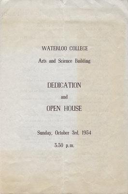 Waterloo College Arts and Science Building dedication and open house programme, October 1954