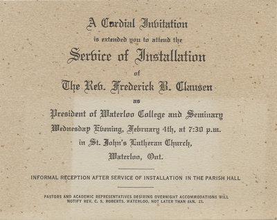 Invitation to the Service of Installation of Rev. Frederick B. Clausen