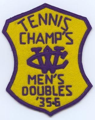 Waterloo College Tennis Champ's Men's Doubles 1935-36 badge