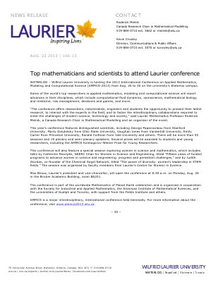 106-2013 : Top mathematicians and scientists to attend Laurier conference