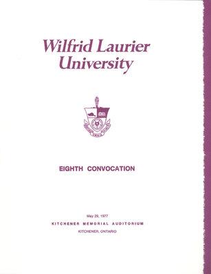 Wilfrid Laurier University spring convocation 1977 program