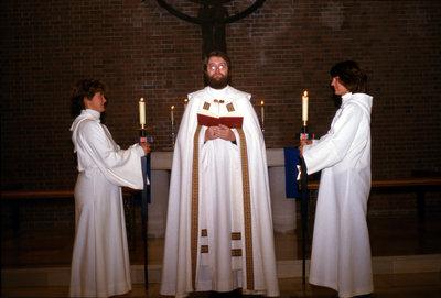 J. Neil Alexander conducting a chapel worship service, Waterloo Lutheran Seminary