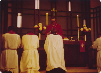 Rev. Saabas leading communion, Evangelical Lutheran Church of the Redeemer, Montreal, Quebec