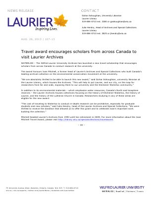 107-2013 : Travel award encourages scholars from across Canada to visit Laurier Archives