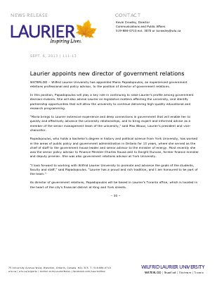 111-2013 : Laurier appoints new director of government relations