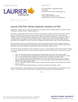 113-2013 : Laurier Fall Film Series explores memory on film