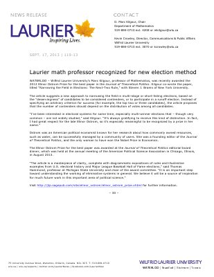 119-2013 : Laurier math professor recognized for new election method