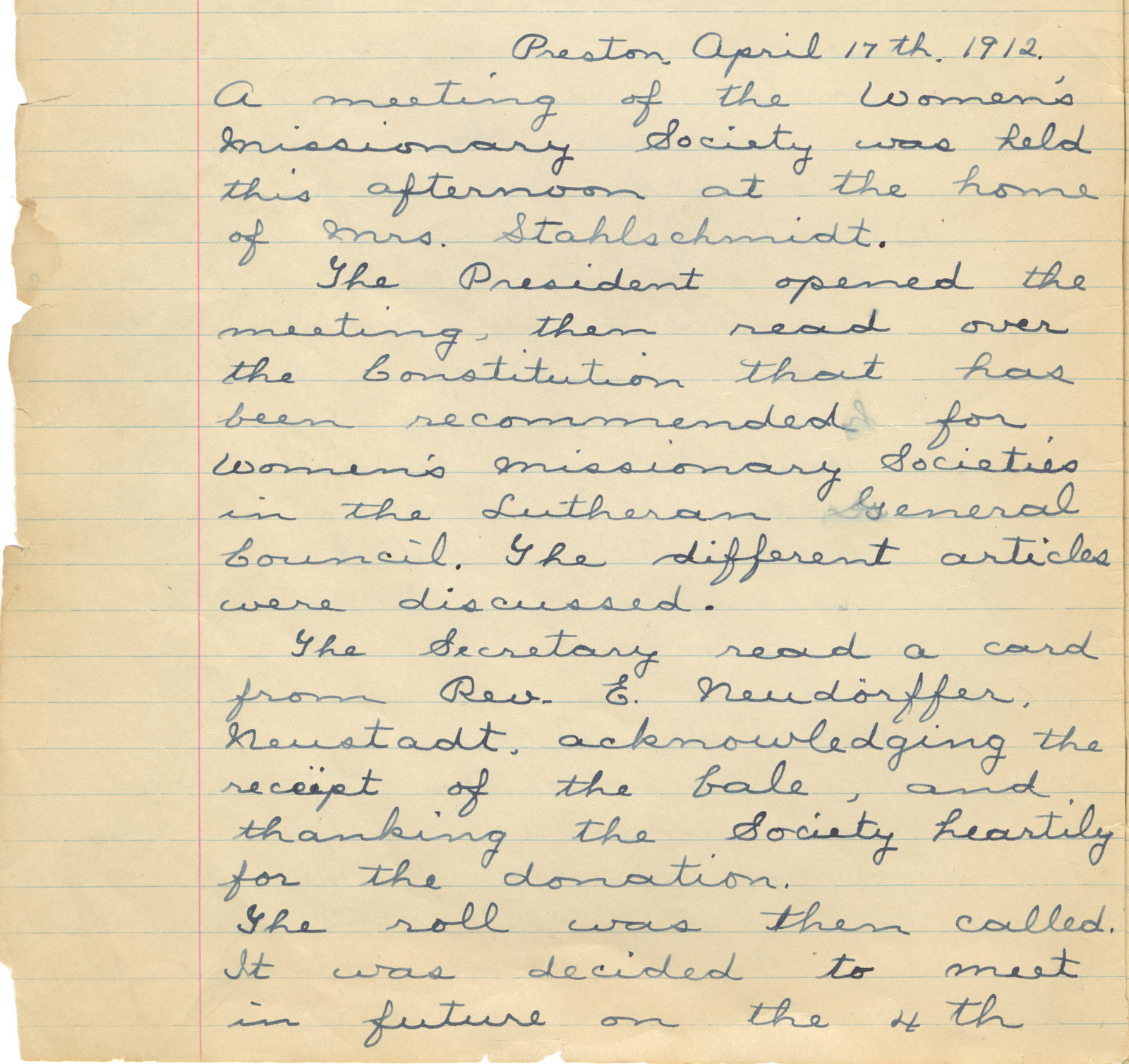Minutes of the Women's Missionary Society of St. Peter's Evangelical Lutheran Church, April 17, 1912
