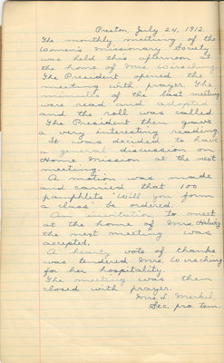 Minutes of the Women's Missionary Society of St. Peter's Evangelical Lutheran Church, July 24, 1912