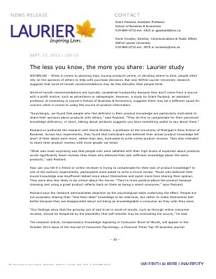 120-2013 : The less you know, the more you share: Laurier Study
