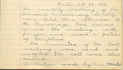 Minutes of the Women's Missionary Society of St. Peter's Evangelical Lutheran Church, October 23, 1912