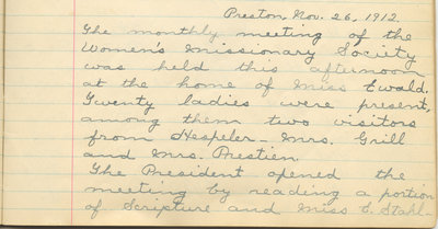Minutes of the Women's Missionary Society of St. Peter's Evangelical Lutheran Church, November 26, 1912