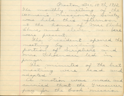 Minutes of the Women's Missionary Society of St. Peter's Evangelical Lutheran Church, December 18, 1912