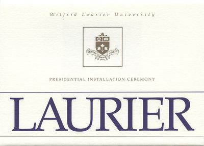 Wilfrid Laurier University Presidential Installation Ceremony invitation, 2007