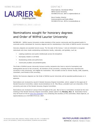 123-2013 : Nominations sought for honorary degrees and Order of Wilfrid Laurier University