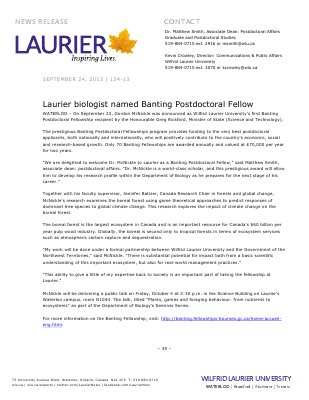 124-2013 : Laurier biologist named Banting Postdoctoral Fellow