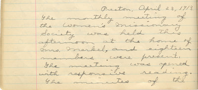 Minutes of the Women's Missionary Society of St. Peter's Evangelical Lutheran Church, April 23, 1913