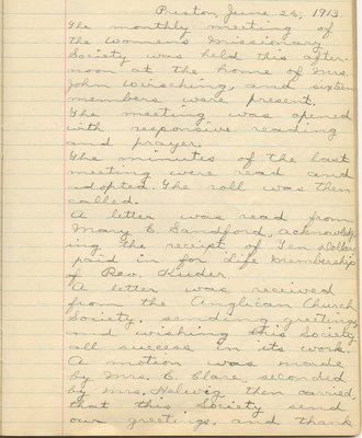 Minutes of the Women's Missionary Society of St. Peter's Evangelical Lutheran Church, June 25, 1913