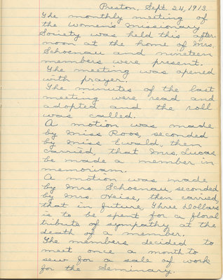 Minutes of the Women's Missionary Society of St. Peter's Evangelical Lutheran Church, September 24, 1913