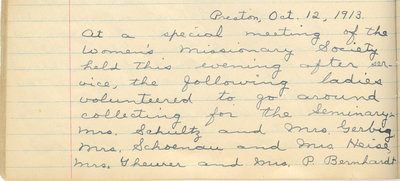 Minutes of the Women's Missionary Society of St. Peter's Evangelical Lutheran Church, October 12, 1913
