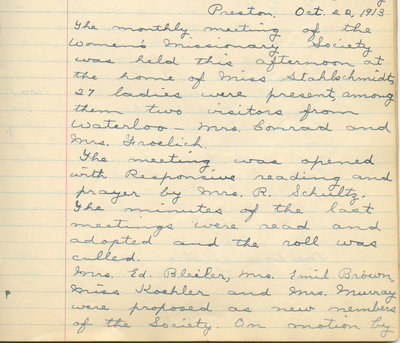 Minutes of the Women's Missionary Society of St. Peter's Evangelical Lutheran Church, October 22, 1913