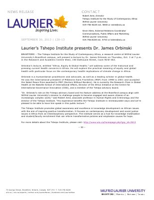 127-2013 : Laurier's Tshepo Institute presents Dr. James Orbinski