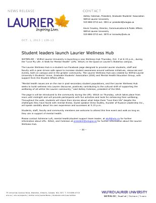 128-2013 : Student leaders launch Laurier Wellness Hub