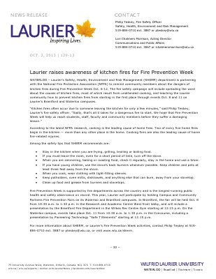 129-2013 : Laurier raises awareness of kitchen fires for Fire Prevention Week