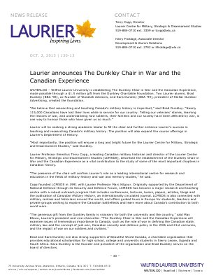 130-2013 : Laurier announces The Dunkley Chair in War and Canadian Experience