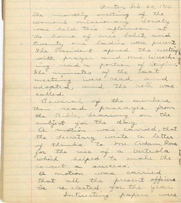 Minutes of the Women's Missionary Society of St. Peter's Evangelical Lutheran Church, February 25, 1914