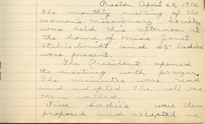 Minutes of the Women's Missionary Society of St. Peter's Evangelical Lutheran Church, April 22, 1914