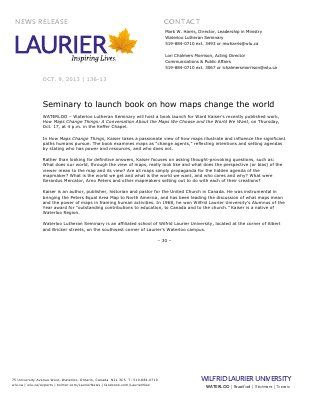 136-2013 : Seminary to launch book on how maps change the world