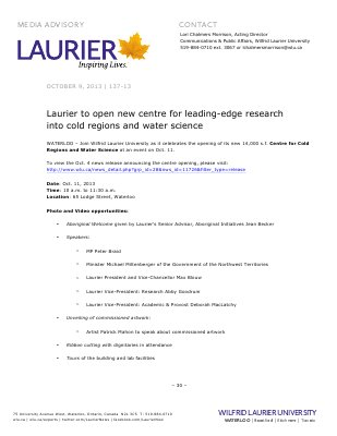 137-2013 : Laurier to open new centre for leading-edge research into cold regions and water science