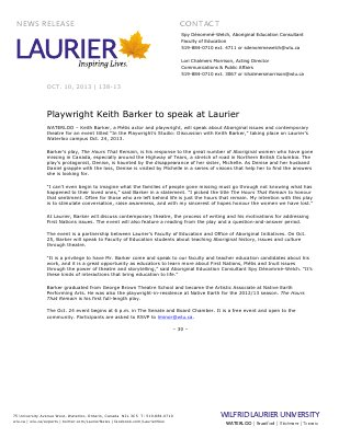 138-2013 : Playwright Keith Barker to speak at Laurier