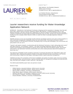 139-2013 : Laurier researchers receive funding for Water Knowledge Application Network