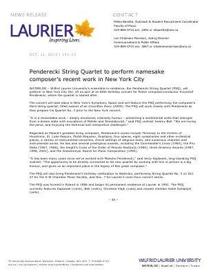 141-2013 : Penderecki String Quarter to perform namesake composer's recent work in New York City